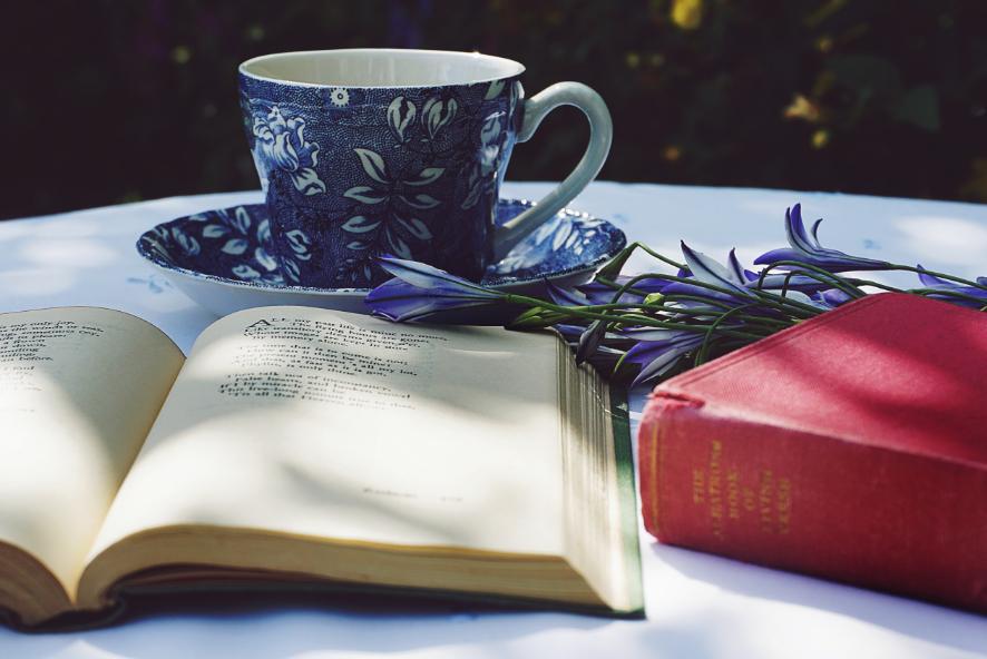Uma pessoa gosta de ler literatura enquanto bebe chá